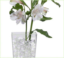 photo of deco cubes in a vase with flowers