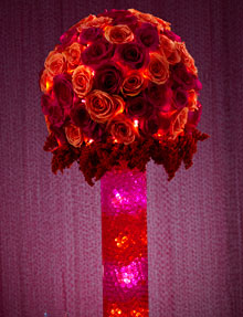 photo of Deco Beads in an illuminated floral arrangement