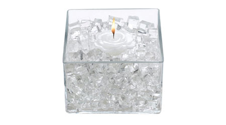 photo of clear Deco Cubes in a bowl